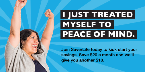 "SaverLife Twitter Post ""I just treated myself to peace of mind."""