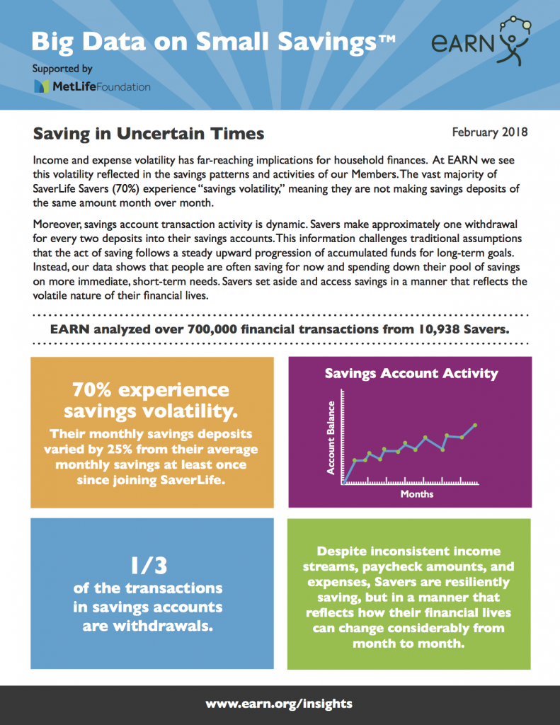 EARN Big Data on Small Savings - Saving in Uncertain Times Page 1